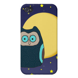 Blue-Eyed Owl and Full Moon iPhone 4 Case