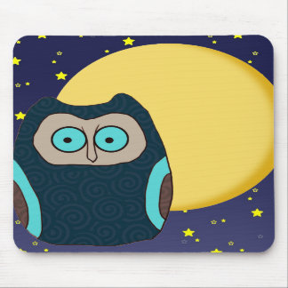 Blue-Eyed Owl and Full Moon Mousepad