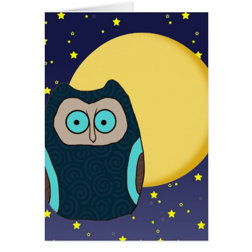 Blue-Eyed Owl and Full Moon Note Card
