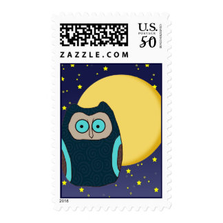 Blue-Eyed Owl and Full Moon Postage Stamp