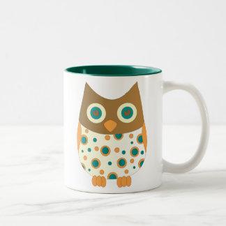 Blue-Eyed Owl Two-Tone Coffee Mug