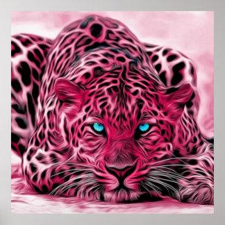 Blue Eyed Pink Tiger Wildcat Illustration Poster