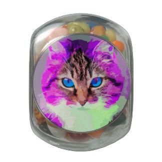 Blue Eyed Purple Cat Face Portrait Glass Jars