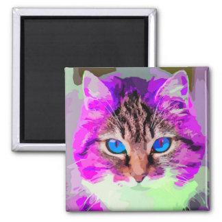 Blue Eyed Purple Cat Face Portrait Magnet
