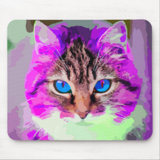 Blue Eyed Purple Cat Face Portrait Mouse Pad