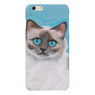 Blue Eyed Ragdoll Cat Portrait Glossy iPhone 6 Plus Case