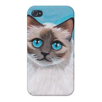 Blue Eyed Ragdoll Cat Portrait iPhone 4 Case