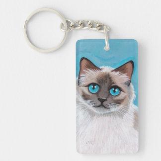 Blue Eyed Ragdoll Cat Portrait Keychain