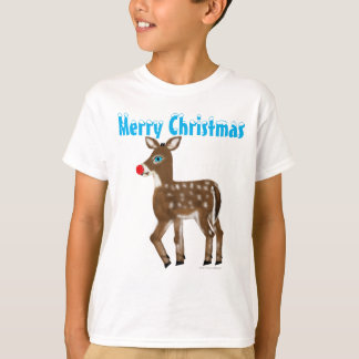 Blue Eyed Red Nose Reindeer Merry Christmas T-Shirt