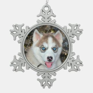Blue eyed Siberian Husky Christmas Snowflake Pewter Christmas Ornament