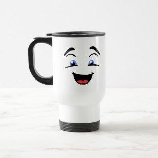 Blue Eyed Smiley Face Travel Mug