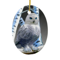 Blue-eyed Snow Owl Ceramic Ornament