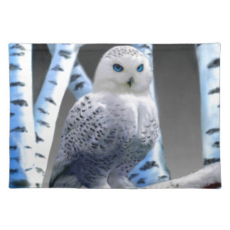 Blue-eyed Snow Owl Cloth Placemat