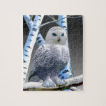 """Blue-eyed Snow Owl Jigsaw Puzzle<br><div class=""""desc"""">A blue-eyed snow owl perched on a snow covered birch tree limb stares at us with a peaceful  hypnotic gaze that wows the viewer.</div>"""