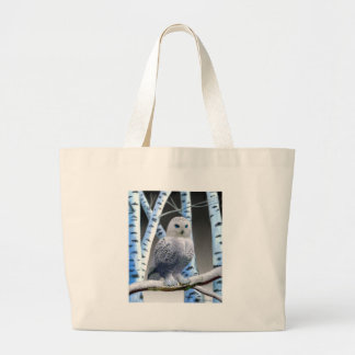 Blue-eyed Snow Owl Large Tote Bag