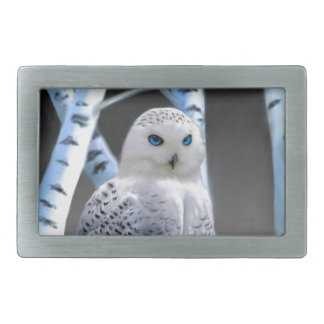 Blue-eyed Snow Owl Rectangular Belt Buckle