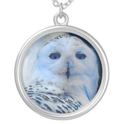 Blue Eyed Snow Owl Round Pendant Necklace