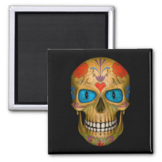 Blue Eyed Sugar Skull Zombie Undead  Square Magnet