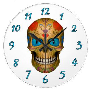 Blue Eyed Sugar Skull Zombie  Undead Wall Clocks