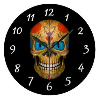 Blue Eyed Sugar Skull Zombie Wall Clocks
