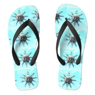 blue-eyed sun-face on light blue flip flops