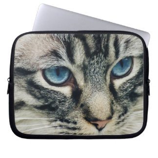 Blue-eyed Tabby Cat Face Close-up Laptop Sleeve