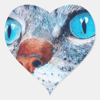 Blue-eyed Tabby Heart Sticker