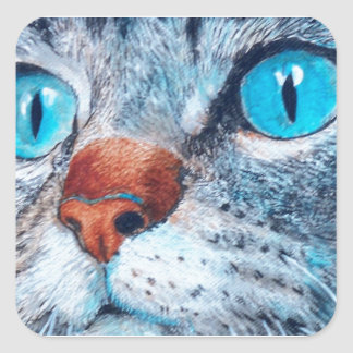 Blue-eyed Tabby Square Sticker