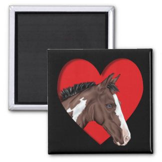 Blue Eyed Tobiano Paint Horse in Red Heart Magnet