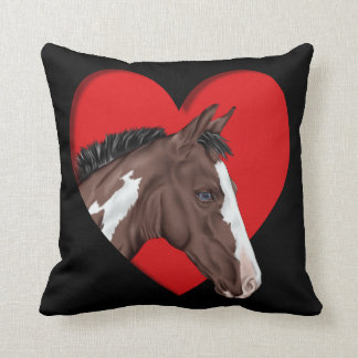 Blue Eyed Tobiano Paint Horse in Red Heart Throw Pillow
