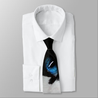 Blue Eyed Tuxedo Cat Tie