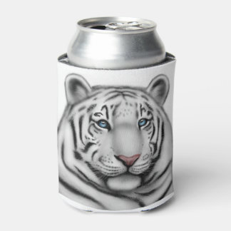 Blue Eyed White Bengal Tiger Can Cooler