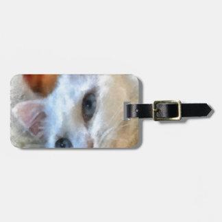 Blue Eyed White Cat Luggage Tag