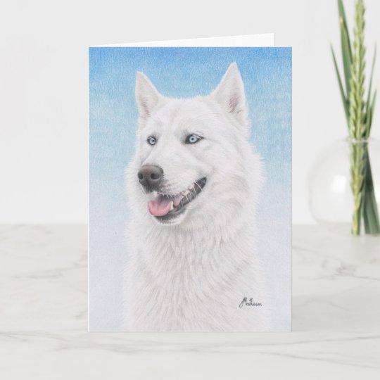 Blue Eyed White Siberian Husky Card Zazzle Com