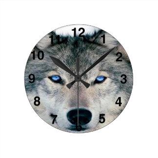 Blue Eyed Wolf Round Wall Clocks