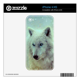 Blue Eyed Wolf Painting Artwork iPhone 4S Decal