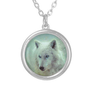 Blue Eyed Wolf Painting Artwork Silver Plated Necklace