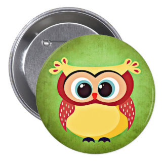 Blue Eyed Yellow Owl 3 Inch Round Button