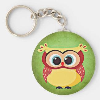 Blue Eyed Yellow Owl Keychain