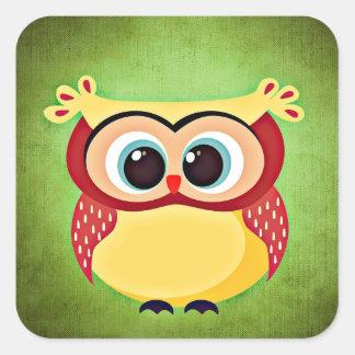 Blue Eyed Yellow Owl Square Sticker