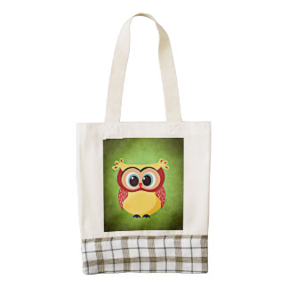 Blue Eyed Yellow Owl Zazzle HEART Tote Bag