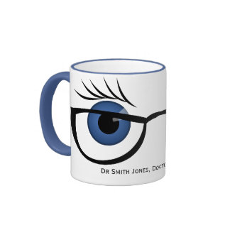 Blue Eyes and Glasses Ringer Coffee Mug