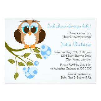 Blue Eyes Baby Owl Baby Shower Invitation