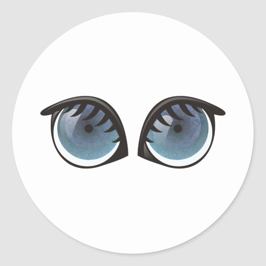 Blue Eyes Cartoon Classic Round Sticker