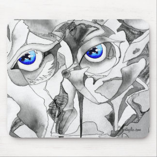Blue eyes ink watercolor mouse pad