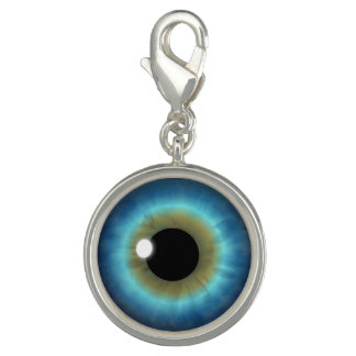 Blue Eyes Iris Eye Fun Cool Round Bracelet Charm