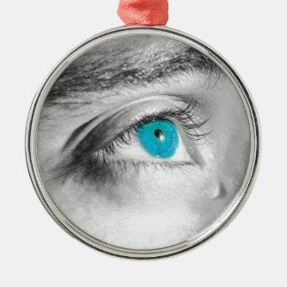 Blue eyes metal ornament