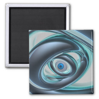 Blue Eyes of A Machine 2 Inch Square Magnet
