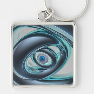 Blue Eyes of A Machine Silver-Colored Square Keychain