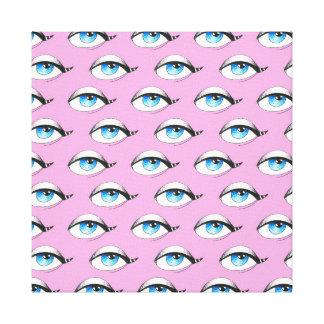 Blue Eyes Pattern Pink Canvas Print